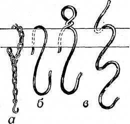 г – рогульки из металла; д – крепление перекладины «восьмеркой» из провода