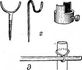 Очаг, оборудованный с помощью шеста, опирающегося на камень (вверху), и альпенштоков