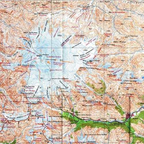 Кавказ, карта Эльбруса и части